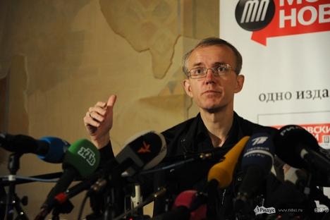 Oleg Schein bei seiner Pressekonferenz. Foto: Wasilij Maksimow / Ridus/