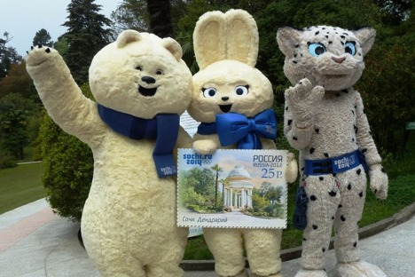 Die Maskottchen für die Olympischen Spiele 2014 in Sotschi.. Foto: sochi2014.com