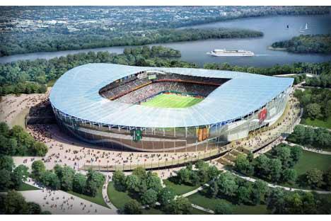 Das neue Stadion in Kasan für insgesamt 45000 Zuschauer soll 2013 fertiggestellt werden. 2018 werden hier die WM-Spiele ausgetragen. Foto: ITAR-TASS
