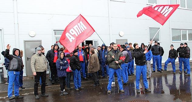Streik beim Autozulieferer Benteler in Kaluga - zwei Tage später begannen die Verhandlungen. Foto: Pressebild