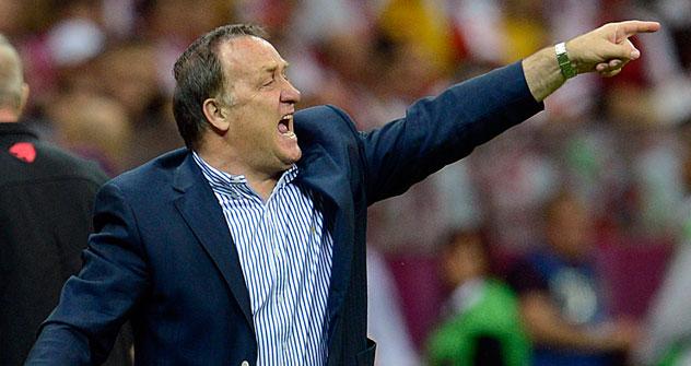 Trainer Dick Advocaat dirigiert die russische Nationalelf. Foto: