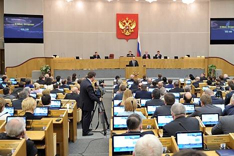 Der umstrittene Gesetzentwurf zu den Nicht-Regierungsorganisationen wurde schon in erster Lesung gebilligt. Foto: Aleksey Nikolskyi / RIA Novosti