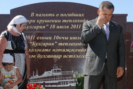 """Am 10. Juli kamen viele zum Denkmal am Ufer Wolga, um Opfer der """"Bulgaria""""-Tragödie zu gedenken. Foto: ITAR-TASS"""