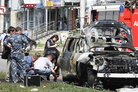 Das Auto von Mufti Faisow explodierte am Donnerstagmorgen in Kasan, nachdem er eingestiegen war. Foto: TASS