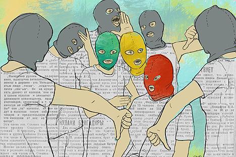 Die Gesellschaft reagiert auf Pussy Riot so, wie sie seit jeher auf systemkritische Persönlichkeiten reagiert hatte (Illustration: Natalia Michailowa)