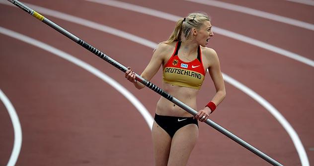 """Lisa Ryshich: """"Selbst ist mir noch keine Medaille sicher. Wenn du gegen solche sportlichen Größen wie Issinbajewa, Stuczynski, Pyrek und Feofanowa antrittst, kannst du deine eigenen Chancen nur sehr schwer einschätzen."""" Foto: AP"""