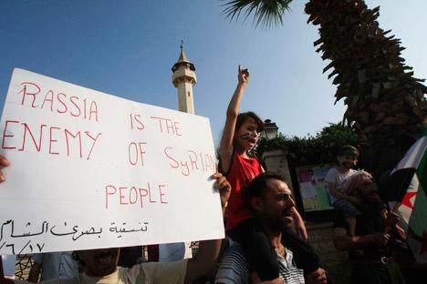 Anti-russische Proteste in Syrien. Foto: AP.