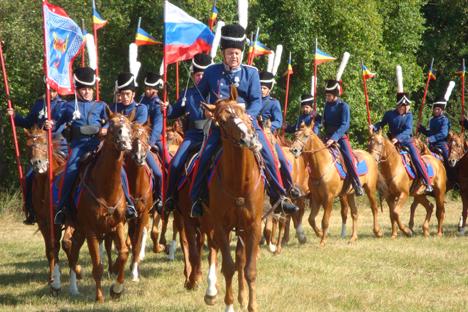 Die Kosaken zeigten ihre Pferde und ihr reiterisches Können vor den begeisterten Zuschauern in Leipzig. Foto: Gernot Borriss