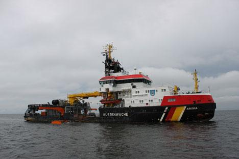 Das deutsche Schiff bei der Ölbekämpfungsübung in Ostsee. Foto: Pauline Tillmann
