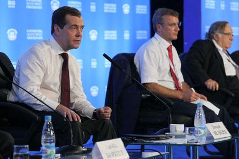 Russischer Ministerpräsident Dmitri Medwedjew während des Investitionsforums in Sotschi. Foto: ITAR-TASS.