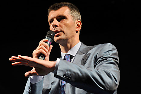 Michail Prochorow errang einen Achtungserfolg bei den Präsidentschaftswahlen. Nun versucht er sich in der Parteipolitik.  Foto: RIA Novosti.