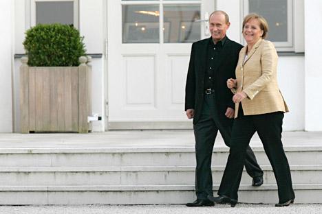 Die Mehrheit der Russen ist der Meinung, dass Wladimir Putin für ein stabiles Verhältnis mit Deutschland als dem wichtigsten europäischen Partner Russlands sorgt. Foto: RIA Novosti.