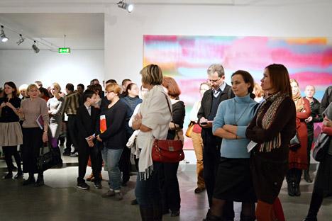 """Die Eröffnung der Moskauer Ausstellung """"Wirklichkeit der Malerei: Das Bild in der deutschen Kunst 1950-2010"""" im Rahmen des Deutschlandjahres in Russland. Foto: Sascha Fialkowskaj"""
