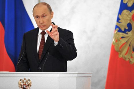 Viele Experten kritisierten, dass Putin keine neuen Ideen in seiner programmatischen Rede vorgetragen habe. Foto: RIA Novosti.