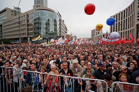 Am dritten Marsch der Millionen in Moskau nahmen 14 000 Menschen teil. Foto: Ruslan Sukhushin