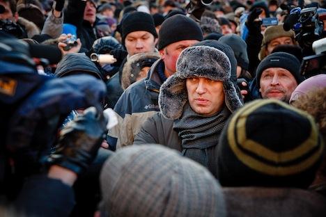 """Russischer Blogger und Oppositionspolitiker Alexey Nawalny war unter der Teilnehmer der Oppositionskundgevbung """"Marsch der Freiheit"""", die am 15. Dezember in Moskau stattfand. Foto: Ruslan Suchuschin."""