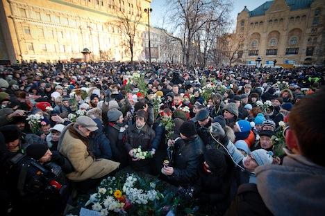 Nach offiziellen Angaben  versammelten sich am Samstag auf dem zentralen Lubjanka-Platz in Moskau rund 700 Menschen. Foto: Ruslan Suchschin.