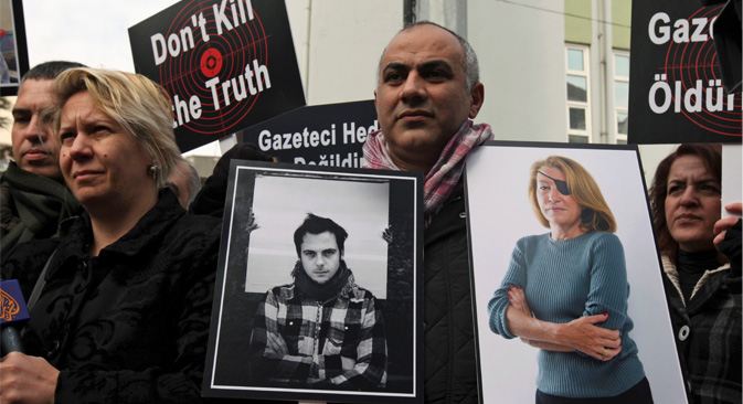 Die Auseinandersetzungen in Syrien sind für die Journalisten die blutigsten seit Beginn des Jahrhunderts. Foto: AP