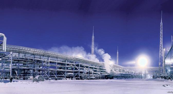 Durch das 3. Energiepaket werden Gazprom die Hände gebunden. Das Unternehmen darf das Gas nur noch in eigenen Röhren bis an die Grenzen der EU leiten. Auf dem Bild: Das Gasvorkommen Sapoljarnoje in Nordsibirien. Foto: Pressebild