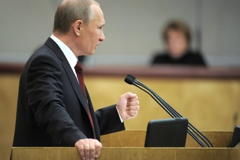 Wladimir Putin in der Staatsduma. Foto: kremlin.ru