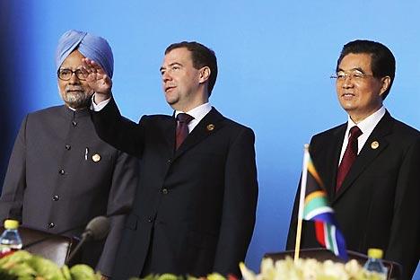 Indiens Premier Mahmohan Singh, russischer Präsident Dmitri Medwedjew und chinesischer Präsident Hu Jintao.Foto: AP