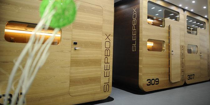 Das Sleepbox-Hotel in Moskau sieht wie eine Bühnenbilddekoration aus einem Science-Fiction-Film aus. Foto: ITAR-TASS