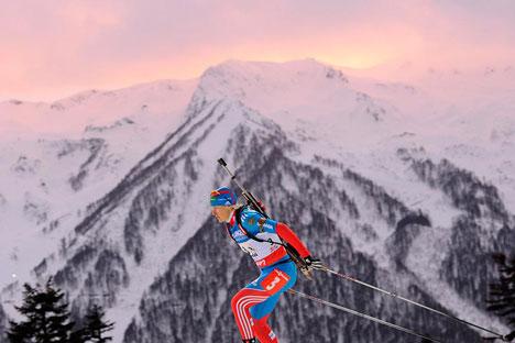 Russische Bialthetin Jekaterina Jurjewa während des Staffelrennens in Sotschi. Foto: RIA Novosti