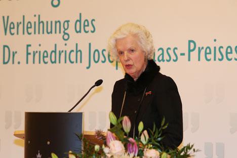 Alexandra Gräfin Lambsdorff während ihrer Dankesrede anlässlich der Ehrung mit dem Dr. Friedrich Joseph Haass-Preis. Foto: Deutsch-Russisches Forum e.V. (Sascha Radke, Eventpress)