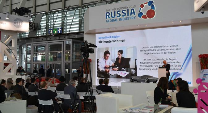 Russische Regionen präsentieren sich am Russland Stand auf der Hannover Messe 2013. Foto: Pressebild