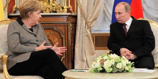 Angela Merkel und Wladimir Putin während des Treffens in Moskau am 16. November 2012. Foto: Reuters/Vostock Photo