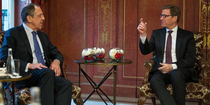 Sergej Lawrow und Guido Westerwelle treffen sich am 15. Mai in Berlin. Foto: Reuters