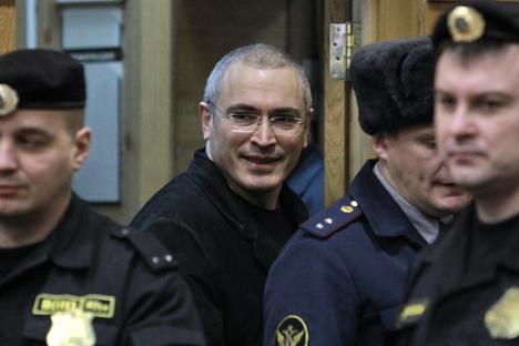 Der Ex-Chef des Ölkonzerns Yukos Michail Chodorkowski im Moskauer Chamowniki-Gericht. Foto: RIA Novosti