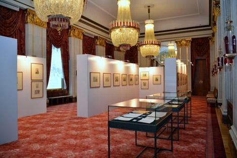 Die Ausstellung im Wappensaal der Russischen Botschaft in Berlin. Foto: Eduard Osechkin