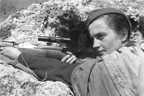 Die berühmte Scharfschützin Ljudmila Pawlitschenko tötete in erbitterten Kämpfen 309 gegnerische Soldaten und Offiziere. Foto: ITAR-TASS
