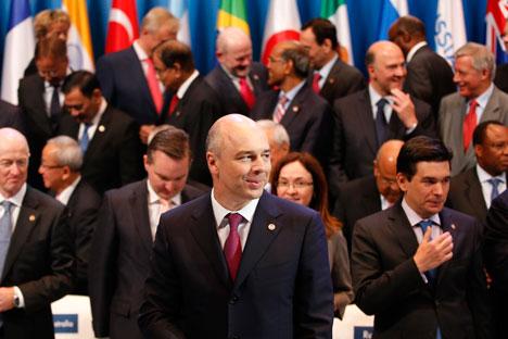 Der russische Finanzminister Anton Siluanow (in der Mitte) während des Finanz-G20-Treffens in Moskau. Foto: Reuters