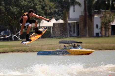 Während der Wasserski-Meisterschaft bei den World Games in Cali. Foto: Pressebild