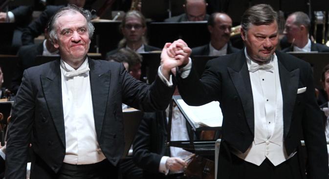Bravorufe für Stardirigent Gergiev und den Solisten René Pape. Foto: Konstantin Sawraschin