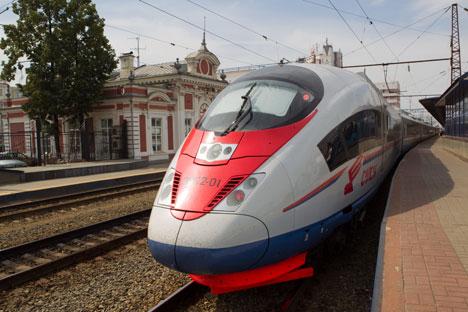 Der Hochgeschwindigkeitszug Sapsan verbindet Moskau mit St. Petersburg und Nischni Nowgorod. Foto: Pressebild