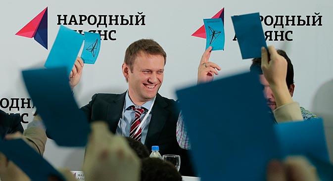 """Wegen seiner Bewährungsstrafe im Fall """"Kirowles"""" kann Nawalny persönlich zwar nirgendwo antreten, doch es ist ihm nicht verboten, Vorsitzender einer Partei zu sein.  Foto: Reuters"""
