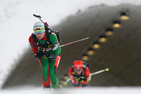 Die Bialthletin Darja Domratschawa, die zurzeit Weißrussland vertritt, hatte sich seinerzeit in der russischen Jugend-Nationalmannschaft nicht durchsetzen können. Foto: AP