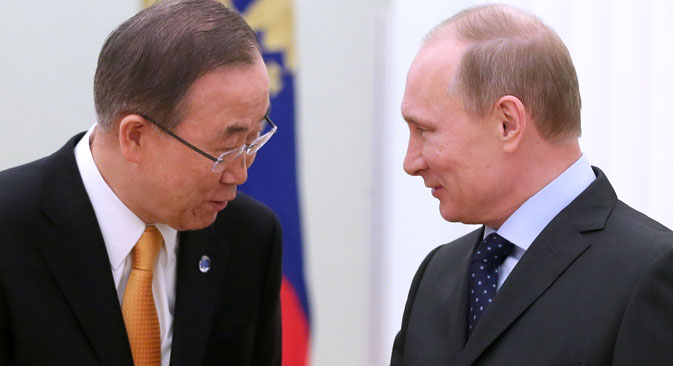 Der UNO-Generalsekretär Ban Ki-moon  traf am 20. März den russischen Präsidenten Wladimir Putin. Foto: ITAR-TASS