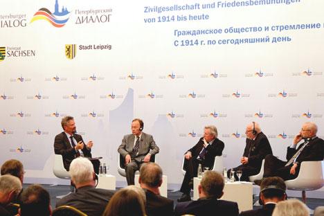 Die Teilnehmer des Petersburger Dialogs in Leipzig sprachen sich für eine Entschärfung des Ukraine-Konflikts aus. Foto: Petersburger Dialog/Sascha Radke