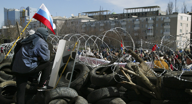 Barrikaden in Donezk. Foto: AP