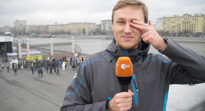 Niels Bula während des Praktikums im Moskauer Büro von ZDF. Foto aus dem persönlichen Archiv.