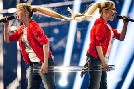 Die Tolmatschow-Schwestern während der Probe beim ESC-Semifinale. Foto: RIA Novosti