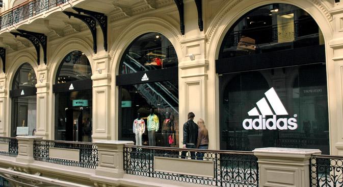 """Das Adidas-Laden im Warenhaus """"GUM"""" in Moskau. Foto: Photoshot"""