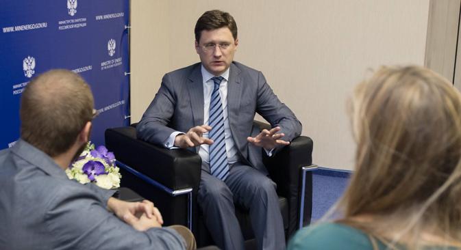 """Der russische Energieminister Alexander Nowak: """"Die europäischen Unternehmen selbst erklären, dass die Einführung von Sanktionen nicht zielführend sei."""" Foto: Sergej Kuksin / Rossijskaja Gazeta"""