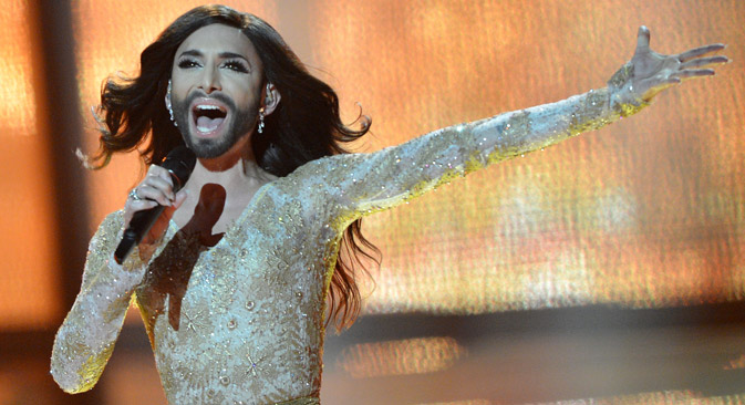 Eurovision winner Conchita Wurst attracted much attention not only for her looksm but also for her singing. Source: Vladimir Astapkovitsch / RIA Novosti