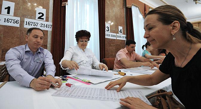 Rund 700 ukrainische Staatsbürger haben in Moskau an den Präsidentschaftswahlen teilgenommen, berichtet Interfax. Foto: Sergey Kusnetsow / RIA Nowosti
