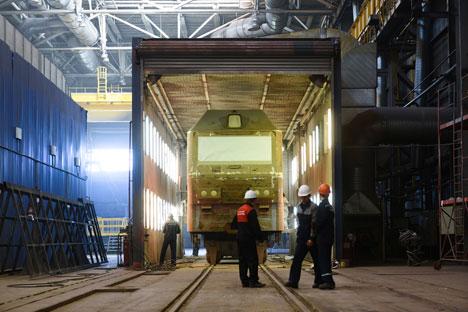 """Die Elektrolok """"Sinara"""" wurde in Russland von Siemens hergestellt.Foto: Slawa Stepanow/GELIO"""